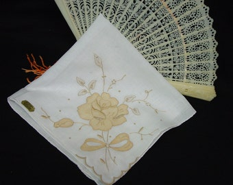 Pretty Vintage Hanky, Handkerchief Made in Madeira, Applique,Embroidered, Tag