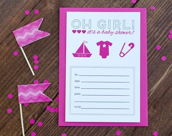 Oh Girl It's a Baby Shower!  Letterpress Invite Set of 10