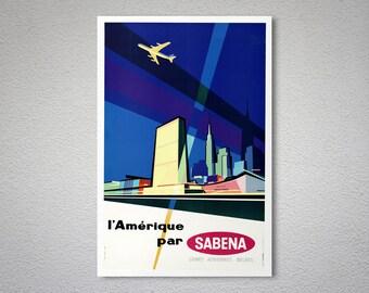 L'Amerique par Sabena Travel Poster - Poster Print, Sticker or Canvas Print / Gift Idea
