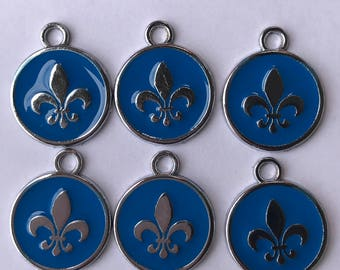 6 Blue Fleur De Lis Charms, 903a