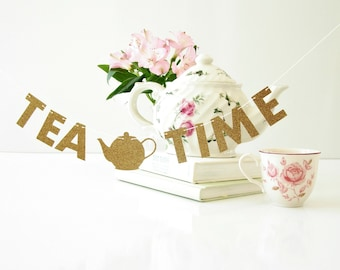 "MINI Tea Time Banner, Tea Station, 1.5"" Glitter Letter Garland, Tea Lover Gift, Coworker Gift, Desk Accessory, Cubicle or Dorm Decor"