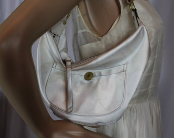 Coach white satin half moon bag