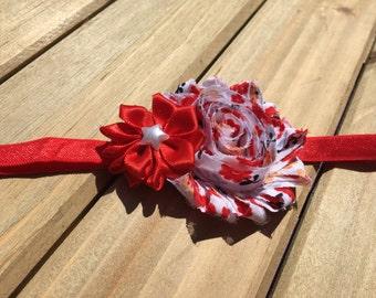 Red baby headband, red cherry blossom headband, Red headband, baby girl headband, red toddler headband, shabby chic headband,