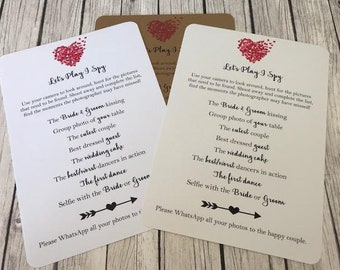 Rustic/Vintage/Shabby Chic I Spy Cards Wedding Game, Camera / Table Activity Cards / Tag Rustic