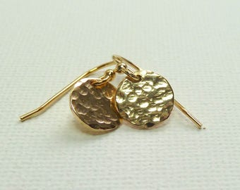 Gold Hammered Disc Earrings, matching necklace available, Sterling Silver available