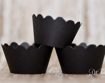 Black Cupcake Wrappers - Wraps Set of 24 - Standard or Mini Sizes