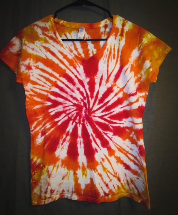 Tie Dye Shirt/Orange & Red Spiral/ Womens V-Neck T-Shirt/ Short Sleeve/Eco-Friendly Dyeing