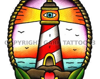 Traditional lighthouse tattoo art
