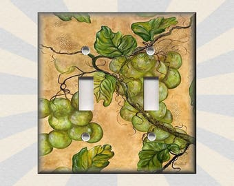 Metal Light Switch Plate Cover   Tuscan Kitchen Decor Green Grapes Vines Grapes  Home Decor