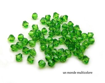 50 6 mm Green faceted acrylic beads