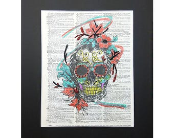 Super Colorful Skull on Vintage Dictionary Page Art Print, Wall Decor, Digital Manipulation with Sparks of Glitter,