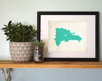 Dominican Republic Personalized Map. Dominican Republic Wedding Map.  Wedding Gift. Anniversary Gift. Beach Wedding. 8x10 Art Print
