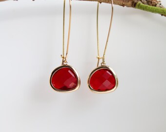 Garnet Earrings - Gold Dangle Earrings - Stone Earrings - Drop Earrings - Birthstone Earrings - Red Jewellery - Red Garnet Jewellery