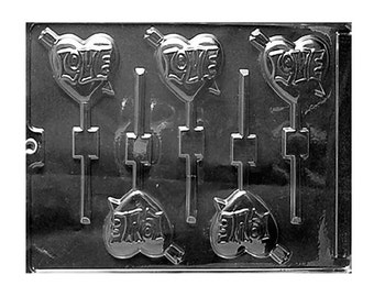 Love Arrow Heart Chocolate Sucker Lollipop Molds  - Valentines Day - Candy Making Food Crafts Party Supplies