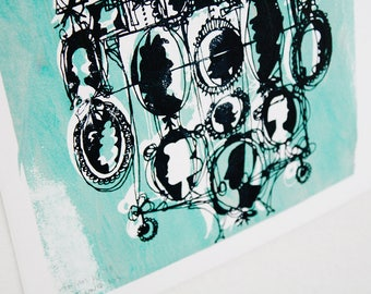 CAMEOS #105 | cartoony-chic Victorian silhouettes in black and mint green one-of-a-kind screenprint (8x10)
