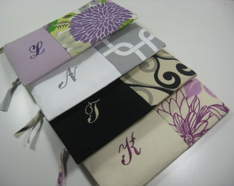 Set of 4 Embroidered Clutches, Personalized,  Pouches, Bridesmaid Clutch, Your Choice, Made To Order