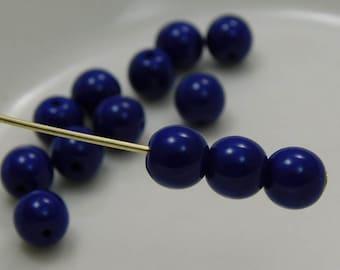 6mm Czech Druk Beads Round Dark Opaque Blue (20pk) si-6DK-DOBlue