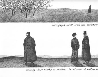 """EDWARD GOREY Original Vintage 1970's Poster Print. Macabre Art, Gothic Home Decor. A Bat from """"The Object Lesson"""""""