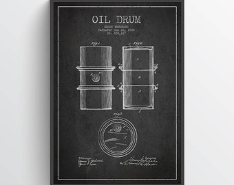 1905 Oil Drum Patent Wall Art Poster, Oil Drum Poster, Texas Art, Home Decor, Gift Idea, PFEN07P