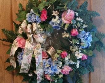 Rose Wreath, Hydrangea Wreath, Summer Wreath, Front Door Wreath, Grapevine Wreath, Blue Wreath, Pink Wreath, Housewarming Gift Wreath