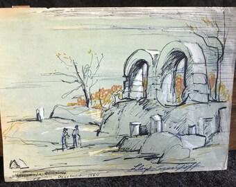 Texas art - - Lloyd Lozes Goff original drawing