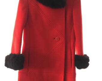 Vintage Red Wool and Black fur trimmed coat
