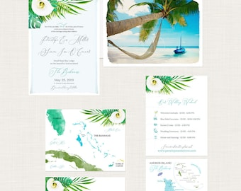 Destination wedding invitation Bahamas Tropical Beach illustrated watercolor invitation Andros Island Wedding Deposit Payment