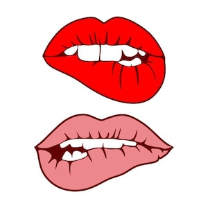 Girl lip bite biting women mouth Cuttable Design SVG PNG DXF & eps Designs  Cameo File