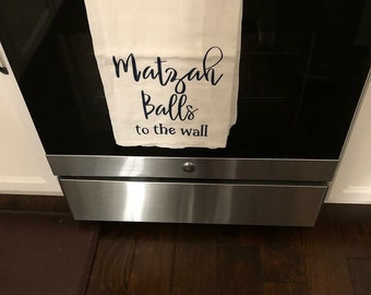 Matzah Balls to the Wall Cotton Tea Towel