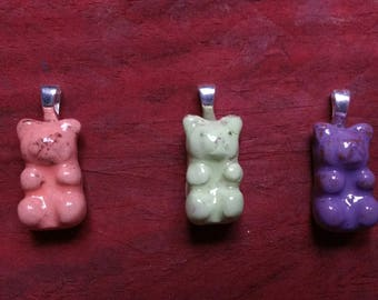 Gummy bears clay hand pendant.Hand made pendant.sterling silver925.gummy bear jewelery.hand made.clay pendant.fair trade.TWOPI1DB