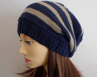 KNITTING PATTERN /CAMPUS/ Teenagers Striped Slouchy Hat Pattern /Girls Slouch Beanie Pattern/ Slouch Toque Hat Pattern //Knit Round Easy