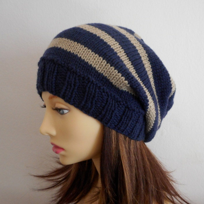 Knitting Pattern Campus Teenagers Striped Slouchy Hat