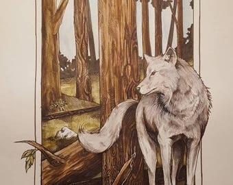 "Grey Wolf In the Redwoods 10×16"" prints"