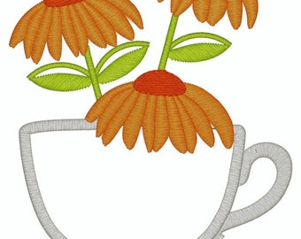 INSTANT DOWNLOAD- Black Eyed Susan Blackeyed TeaCup Tea Cup Towel Digital Machine 4X4 Applique Embroidery Design