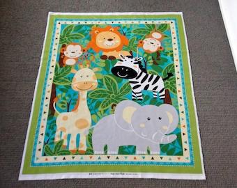 Jungle animal fabric panel. Nursery cot panel. Baby quilt panel. Zoo animal. Safari panel. Giraffe. Monkey. Zebra Elephant Lion DAMAGED