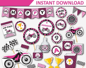 Motorcycle Birthday - Dirt Bike Party - Motocross Party - Dirtbike Birthday - Dirt Bike Decor - Motocross Party Printable (Instant Download)