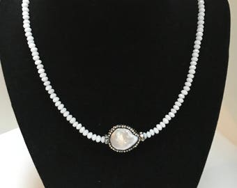 White Crystal Necklace, Rhinestone Pave Pearl Focal Piece
