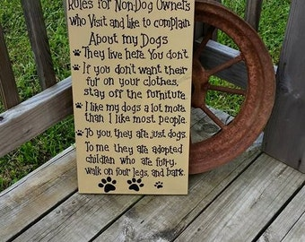 Customized Rules For Non Dog Owner Wood Sign   Wooden Wall Hanging   Pet Dog  Home