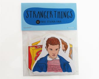 Stranger Things - 12 piece sticker set -Stranger Things stickers - Stranger Things sticker pack - Eleven Stranger Things