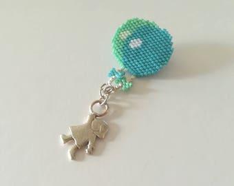 Woven pattern needle pin balls + girl charm