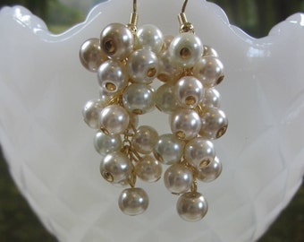 Long Pearl Cluster Earrings, Grape Cluster, Party Pearls - Cream/ Ivory/ Beige/ White, Unique, OOAK, SRAJD Custom Orders
