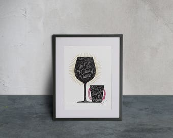 You'll Be My Glass of Wine I'll Be Your Shot of Whiskey ~ Wine & Whiskey Color Pop ~ Lyrical Art Print ~ Printable *PDF + JPEG