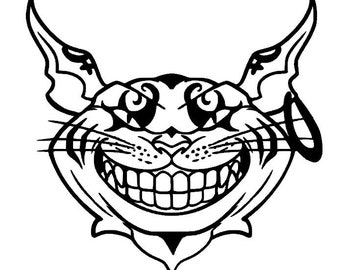 Alice in Wonderland Cheshire Cat, Evil Cheshire Cat, American McGee's Alice Fan Art Cheshire Cat, Dark Cheshire Cat, Cat Stickers, Cat Decal