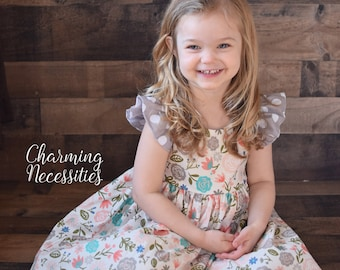 Blush and Gray Floral Dress, Toddler Girls Dress, Girls Special Occasion, Birthday Party Dress, Flutter Sleeve Pinafore, Baby Girl Clothes