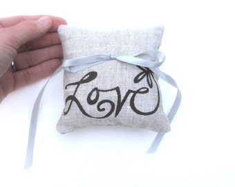 Ring Bearer Pillow, Wedding decor, Love flower ring pillow, 4 x 4 inches - Choose your fabric and ink color