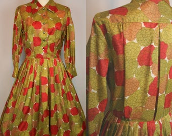 1950s 1960s Green & Red Floral Dress (M L)