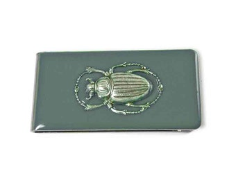 Scarab Money Clip Inlaid in Hand Painted Enamel Gray Opaque Glossy Finish Art Nouvea Inspired Custom Colors and Personalized Options