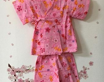 Toddler Kimono Outfit, Pink Fish Sakura Design, Baby Kimono, Child Kimono, Baby Gifts, Baby Jinbei, Photo Prop Idea, Ninja Outfit, Kawaii