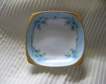 Forget Me Not Square Dish by O & E G Royal Austria, Square Forget Me Not Dish, Forget Me Not Dresser Dish, Royal Austria China,Forget Me Not
