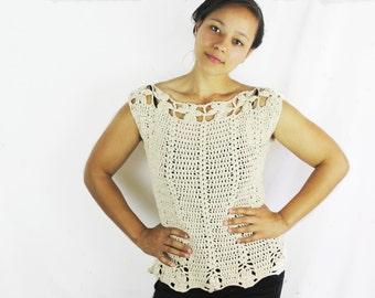 Women's neutral spring blouse, Crochet cotton top - The Sakura- Women's crochet top, Tank top